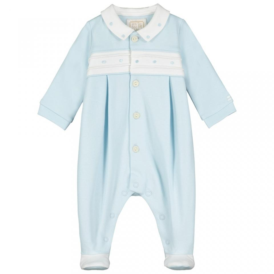 EMILE ET ROSE BABY BOYS CLOTHING TAYLOR INTERLOCK AIO EMB SPOTS DETAIL WITH COLLAR